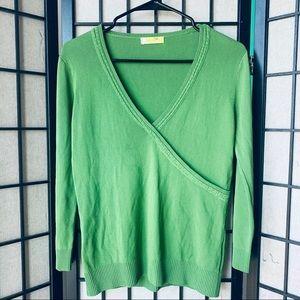 Tops - Seiki knitwear green ribbed wrap blouse sz L